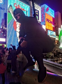 Ninja Part 2: Smashing Dontonbori by night. Osaka, Japan