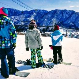 Snowboarding in Nagano, Japan