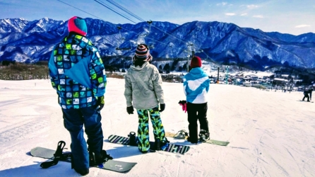 Snowboarding in Nagano, Japan